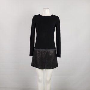 Theory Black Leather Long Sleeve Dress Size M